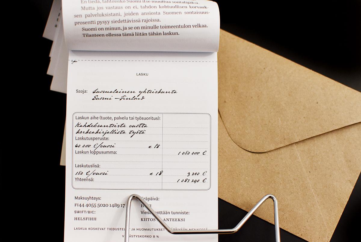 Kuvituskuva, jossa Nylénin Häviön lasku ja ruskea kirjekuori