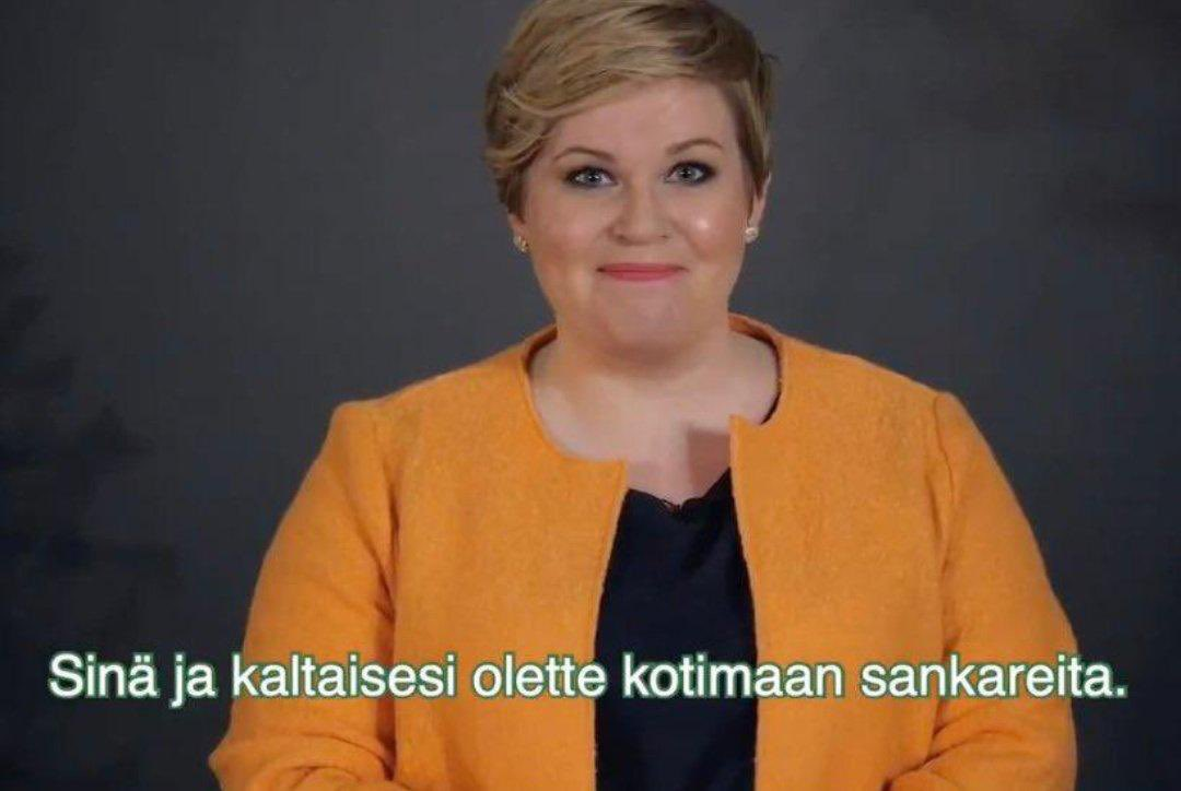 Kuvakaappaus Annika Saarikon puheesta